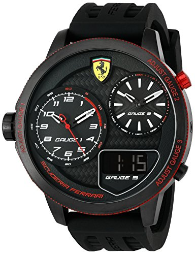 Scuderia-Ferrari-Mens-XX-Kers-Quartz-Stainless-Steel-and-Silicone-Casual-Watch-ColorBlack-Model-0830318