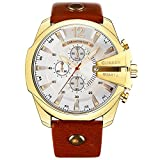 Curren Men Watches Top Brand Luxury Gold Male Fashion Leather Strap Outdoor Casual Sport Wristwatch With Big Dial (gold white)