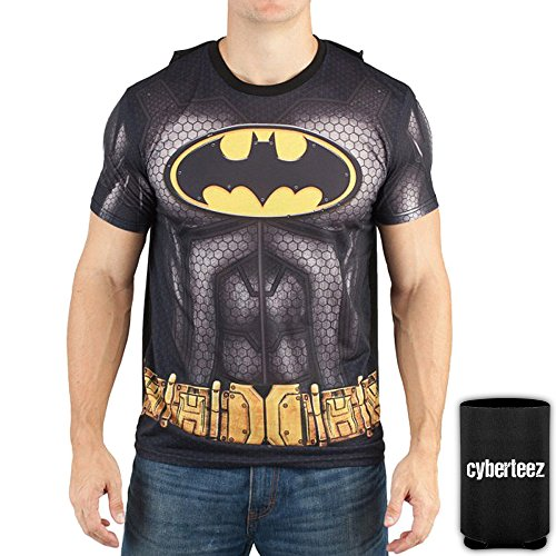 Batman Sublimated Men's Costume With Cape DC Comics T-Shirt (2XL)