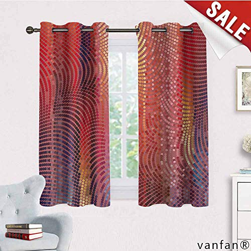 LQQBSTORAGE Abstract,Curtains Decoration,Wavy Curvy Mosaic Design Pixelated Texture in Vibrant Colors Digital Art Print,Curtains Girls Bedroom,Multicolor