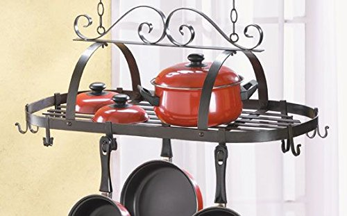 Kitchen Hanging Pot And Pans Lid Rack Storage Iron Ceiling Mounted Home Bar Shelf Holder Hooks Decorative
