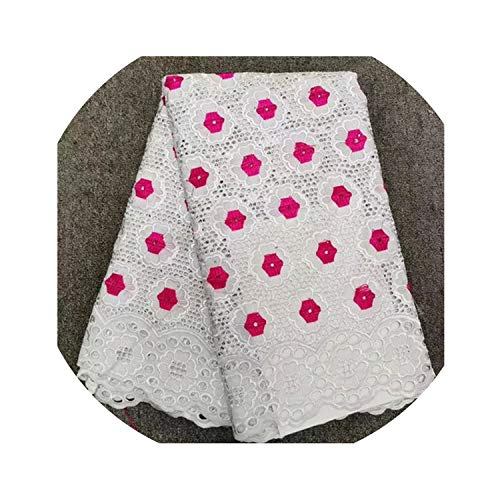 Nigerian Cotton Polish Fabric for Men Swiss Polish Lace Material 5Yards with Stones,Same As Picture3
