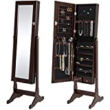 : Best Choice Products Mirrored Jewelry Cabinet Armoire W/ Stand Rings, Necklaces, Bracelets Brown