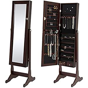 best choice products mirrored jewelry cabinet armoire w stand rings necklaces. Black Bedroom Furniture Sets. Home Design Ideas