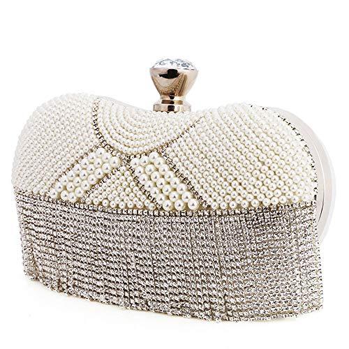 ETH Tassel Rhinestone Lady Banquet Party Evening Bag Crystal Imitation Pearl Shoulder Chain Diagonal Bag Wedding Bridal Celebration Dress Clutches Bags for Women Durable (Color : Silver) (Mk Bags Imitation)
