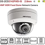 Hikvision 4MP IP Camera Poe DS-2CD2142FWD-IS Network Security Camera Day/night Infrared IP67 IK10 Protection Outdoor Mini Dome Camera 2.8mm Lens Support ONVIF