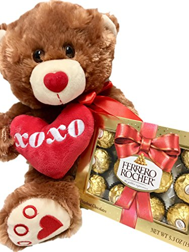 Plush Brown Teddy Bear with Pink XOXO Heart, Ferrero Rocher Chocolate Candy - Valentine, Birthday, Get Well Gift (Brown Bear)
