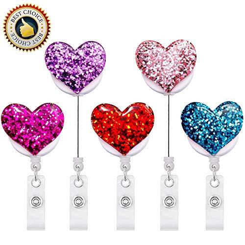 Retractable Badge Holder Bling Popular Love Heart, ID Badge Reel with Alligator Swivel Clip, 5 Pack