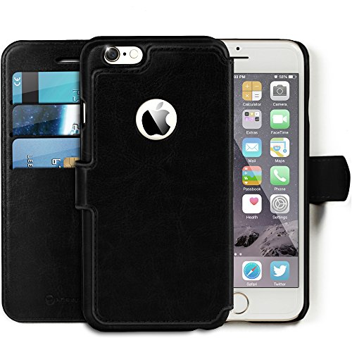 Lockwood iPhone 6/6s Plus | Folio Wallet Card Case | Faux Leather | Vintage Black | (5.5 Inch) | Ultra Slim & Light