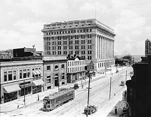 Restored Black & White Photo - Historic Milwaukee, Wisconsin - The Northwestern Mutual Building, c1920 | 14in x 11in ()