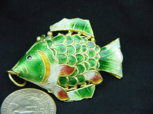 Green Cloisonne Articulated Fish Enameled (Cloisonne Fish compare prices)