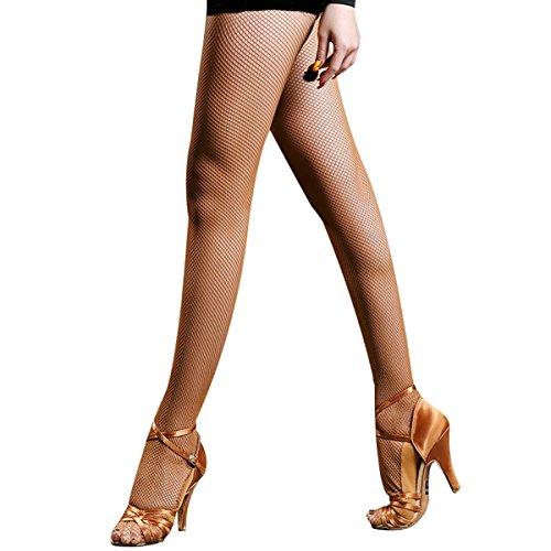 Pitping Latin Ballroom Dance Fishnet Tights Stockings for Dancer Seamless Tights Ballet (Dark Coffee)