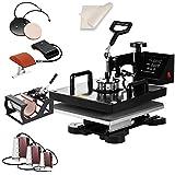 SmarketBuy Heat Press 15x15 Inch Digital Sublimation T-Shirt Heat Press Machine 8 in 1 Black (8-in-1)
