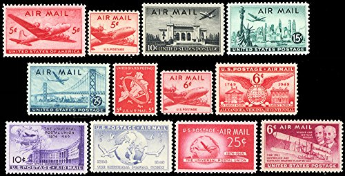 - 1946-1949 Airmail Commemorative Set of 12 Mint Never Hinged Stamps Scott C32//C45 By USPS