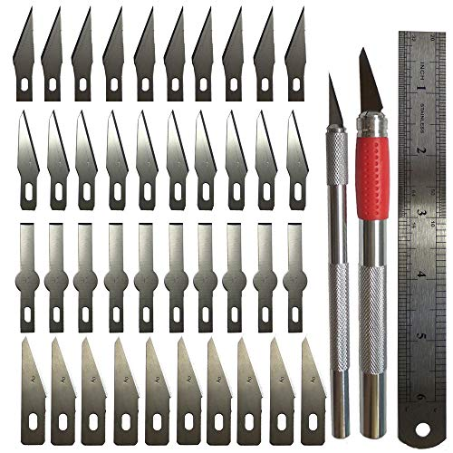 Art Pen Knife,Cutting Tools Crafts,Including 2 Sizes Knife,Steel Ruler and 40PCS Precision Carving Blades for Cutting and Trimming Paper Plastic Cloth Wood Carving/Scrapbooking/Car ()