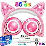 TURNMEON Kids Cat Ear Headphones with Mic LED Light 85dB Volume Limited Foldable Over On Ear Game Headsets for Girls Boys Children Pad Phone Tablet School Travel Outdoor Children Halloween Musical Device (Pink)