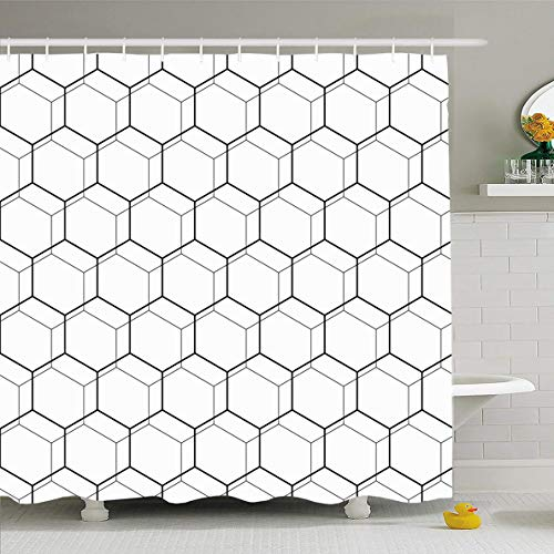 Ahawoso Shower Curtain 72 x 72 Inches Periodic Pattern Geometric Fine Abstract Octagonal Structure Octagon Line Black Color Creativity Waterproof Polyester Fabric Bathroom Set with Hooks