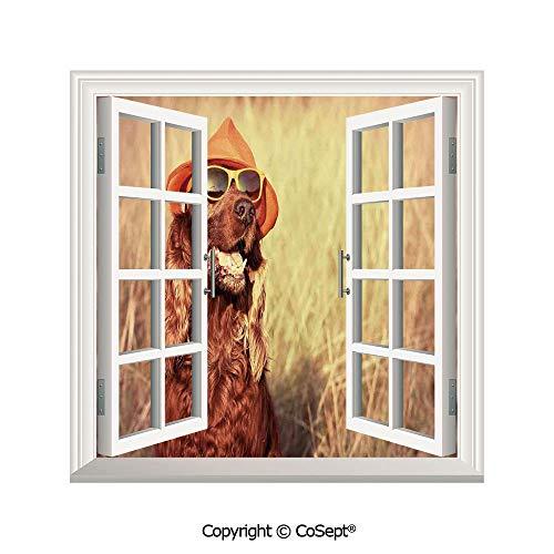 SCOXIXI Creative Window View Wall Decor,Funny Retro Irish Setter Dog Wearing Hat and Sunglasses Humor Joy Picture,Window Stickers Have Beautiful Scenery(26.65x20 inch)
