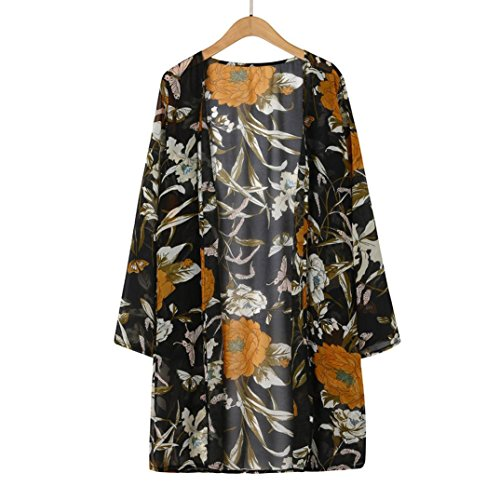 Price comparison product image Women's Blouse,  Iuhan Women Floral Print Blouse Chiffon Long Sleeve Cardigan Tops (XL,  Black)