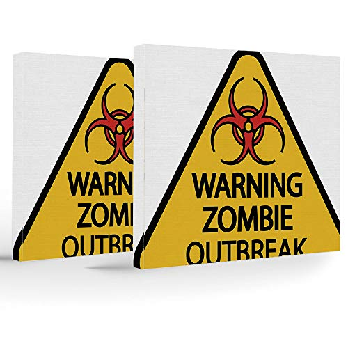 Artwork Wall Art Canvas Prints Picture,Zombie Decor,2 Panels Stretched Canvas Framed Wall Art,Warning Zombie Outbreak Sign Cemetery Infection Halloween Graphic Decorative -