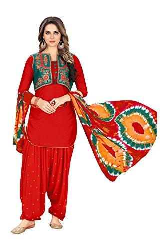 FourCorners2013 Indian Women Designer Partywear Ethnic Traditonal RedUnstitchedSalwarKameez by FourCorners2013