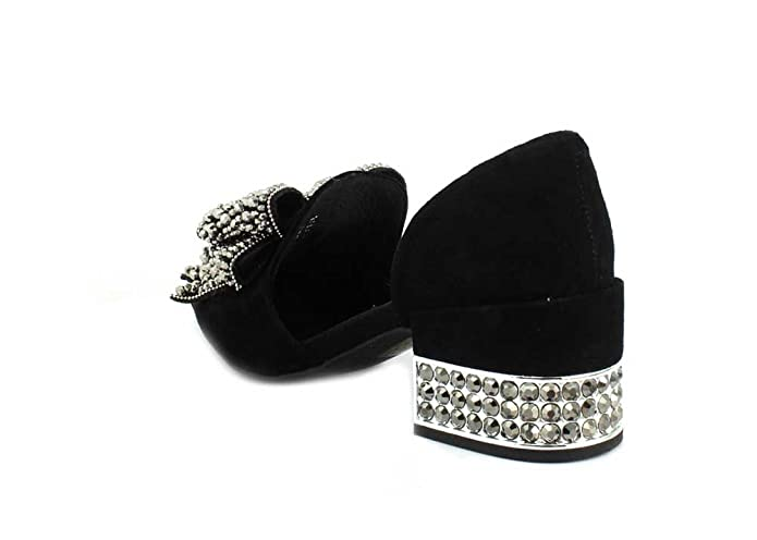 ab3f46bb53a Jeffrey Campbell Womens Valenti Embellished Bow Loafer Black Suede Silver  Smoke Slip-On - 9  Amazon.ca  Shoes   Handbags