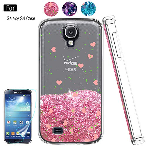 Galaxy S4 Liquid Case,S4 Case, Galaxy S4 Case with HD Screen Protector for Girls Women,Atump Bling Shiny Moving Quicksand Liquid TPU Protective Phone Case for Samsung Galaxy S4 Pink (Charging Case Samsung Galaxy S4)