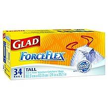 Glad ForceFlex Odor Guard Tall Kitchen Drawstring Trash Bags, 34 ct.