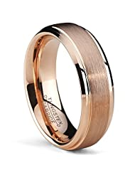 Metal Masters Co.® 6mm Rose Plated Tungsten Carbide Wedding Band Ring Men's Band comfort fit