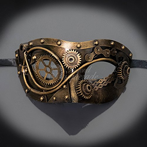 KBW 2017 mad max Gold Steampunk Men Masquerade Venetian mask Half face Party Mask (Gold) -