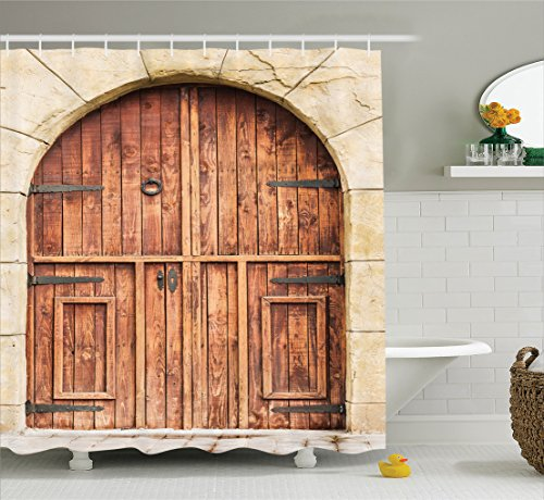Rustic Decor Shower Curtain Set by Ambesonne, Traditional Oak Crafted Doorway on Stone Facade Artisan Hand Made Features Culture Print, Bathroom Accessories, 84 Inches Extralong, Cream Brown Oak Traditional Bed Set