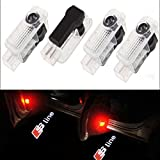CNAutoLicht 4Pcs Cree LED S Line Logo Door Step Courtesy Light Welcome Light Laser Shadow Logo Projector Lamp For Audi A1 A2 A3 A4 A5 A6 A7 A8 Q2 Q3 Q6 Q5 Q7 R8 TT RS4 RS5 RS6 RS7 S3 S4 S5 S6 S7 S8