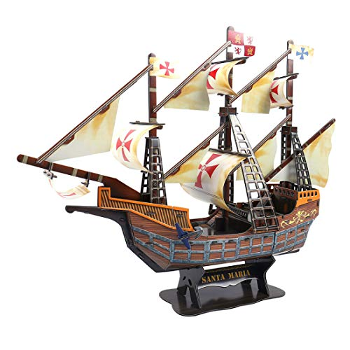 (Haoun 3D DIY Jigsaw Puzzle Ship Model Sailing Boat Model Toy Handicraft for Kids Adult- Santa Maria)