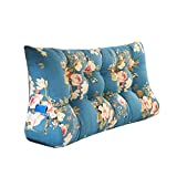 MS Pillow Blue Bedside Triangle Cushion Bed Large Cushion Pillow Lumbar Pillow Sofa Back Protect The Waist Soft Comfortable Flower Pattern Multiple