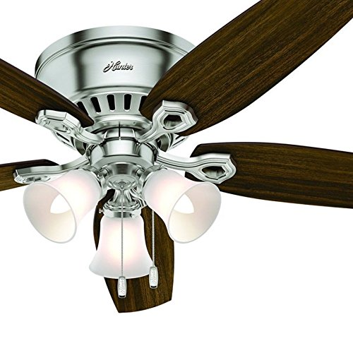 Hunter Fan 52 inch Low Profile Ceiling Fan in Brushed Nickel with Cased White Light Kit, 5 Blade (Certified Refurbished)
