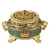 O-Tokyo for Feng Shui & Yoga & Meditation Incense Burner ( Asian Vintage Type / Decorative , Tibetan Style Relief ) (Blue,Gold)