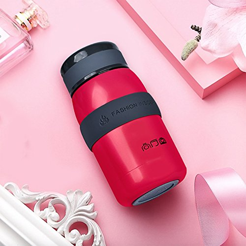 TENTA Kitchen Leak proof Vacuum Insulated Stainless Steel Water Bottle Tiny Potable Travel Coffee Mug Insulated Tumbler Cup With Silicone Sleeve For Children,Red,220ML - 18/8(304) Stainless Steel (Ml 220 Bottle)