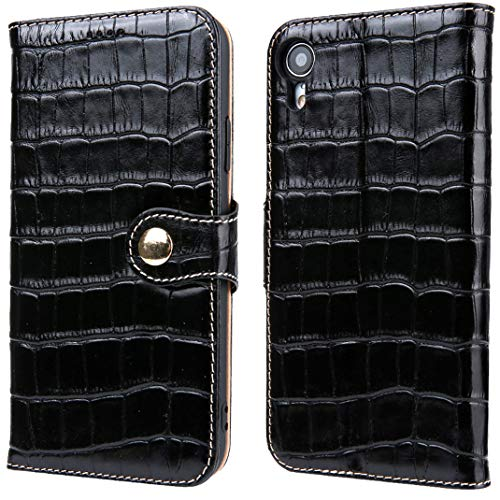(iPhone XR Leather Wallet, Reginn Genuine Leather Folio with [Card & Cash Pockets] [Stand Function] Crocodile Pattern Leather Wallet for iPhone XR (Black))