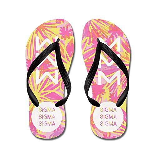 Cafepress Sigma Sigma Sigma Yellow - Infradito, Sandali Infradito Divertenti, Sandali Da Spiaggia Neri