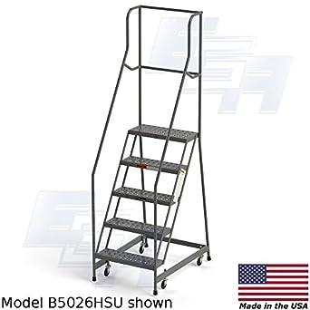 """Ega b5026hsu acero Industrial Rolling escalera, en 5 pasos 24 """"de ancho perforado"""