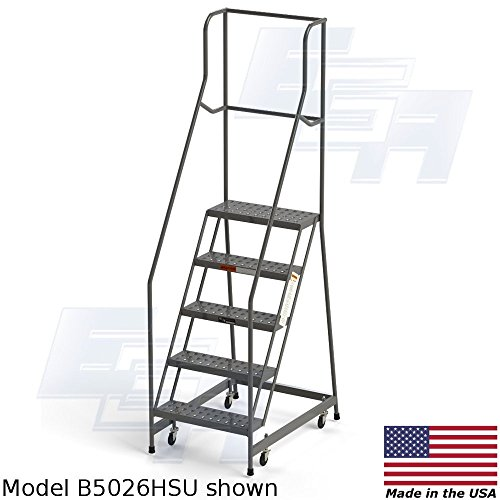 Fully Assembled 5-Step Steel Industrial Rolling Ladder, EGA CA-MB5026HSU, 24