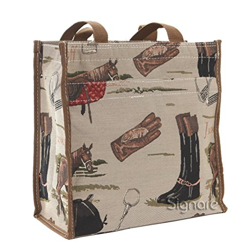 Signare Horse Shopper Bag Tan Womens Racing Recycling Shoulder Fabric Reusable Shopping Tote | 31x30x13.5 cm | - Shopper Tan