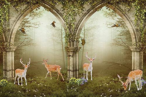 - Wall murals Wallpaper Forest Roman Column Arches elk Backdrop White Wallpaper Home Decoration (H)300(W)210cm A