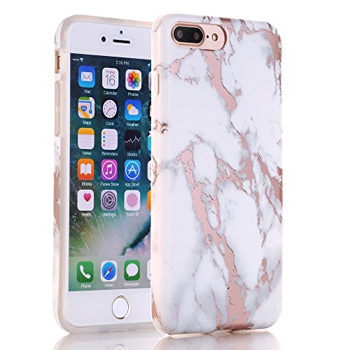 iPhone 7 Plus Case, Shiny Rose Gold White Marble Design, BAISRKE Clear Bumper Matte TPU Soft Rubber Silicone Cover Phone Case for Apple iPhone 7 Plus & iPhone 8 Plus [5.5 inch] by BAISRKE (Image #2)