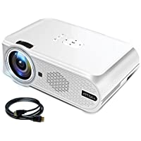 Video Projector ARTSEA, Multimedia Home Theater Movie Projector Support 1080P AV VGA USB SD HDMI for PC Laptop PS4 XBOX Smartphone iPhone TV Box, with an HDMI Cable, White Led Projector