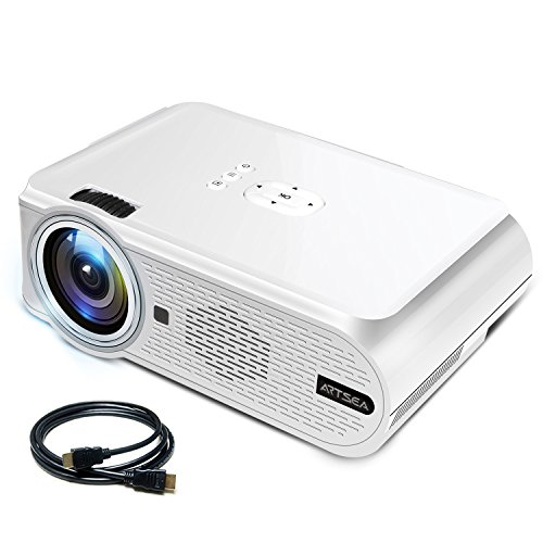 Video Projector ARTSEA, +10% Brighter Than Ordinary LED Projector Home Theater Movie Projector Support 1080P for PC Laptop PS4 XBOX Smartphone iPhone TV Box, with AV HDMI (Av Projector Stand)