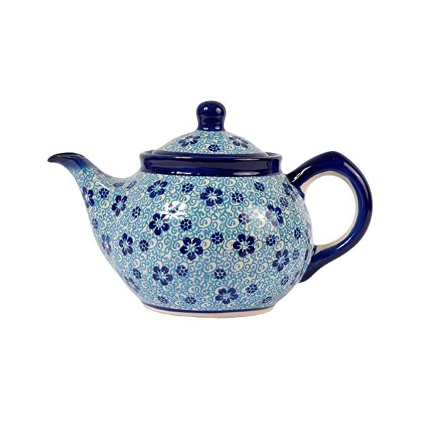 Traditional Polish Pottery, Handcrafted Ceramic 4-Cup Teapot with Lid (850ml), Boleslawiec Style Pattern, H.102.Flow