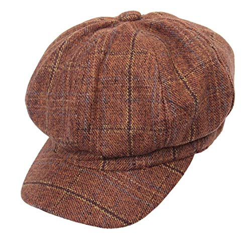 Cabbie-Newsboy Hat Tweed Plaid - Classic-Cabbie Paperboy Painter Newsboy Cap (Coffee)