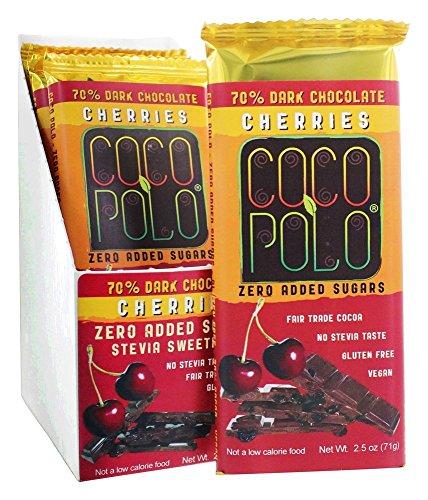 Coco Polo - Coco Polo - 70% Dark Chocolate Vegan Bars Box Cherries - 10 Bars