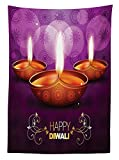 Diwali Decor Tablecloth Indian Celebration Religious Candle Burning Image and Paisley Backdrop Print Dining Room Kitchen Rectangular Table Cover Multicolored